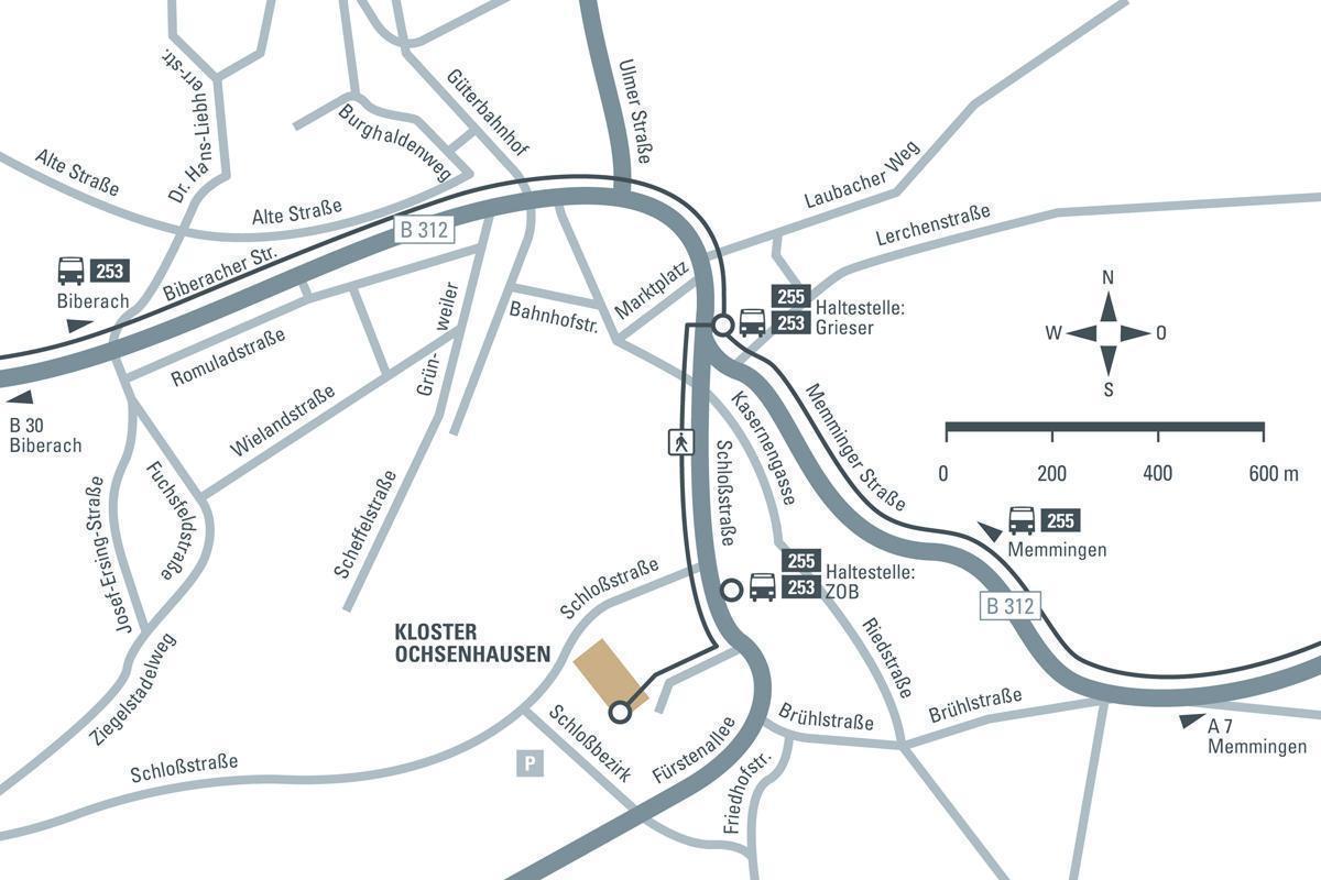 Anfahrtsskizze zum Kloster Ochsenhausen