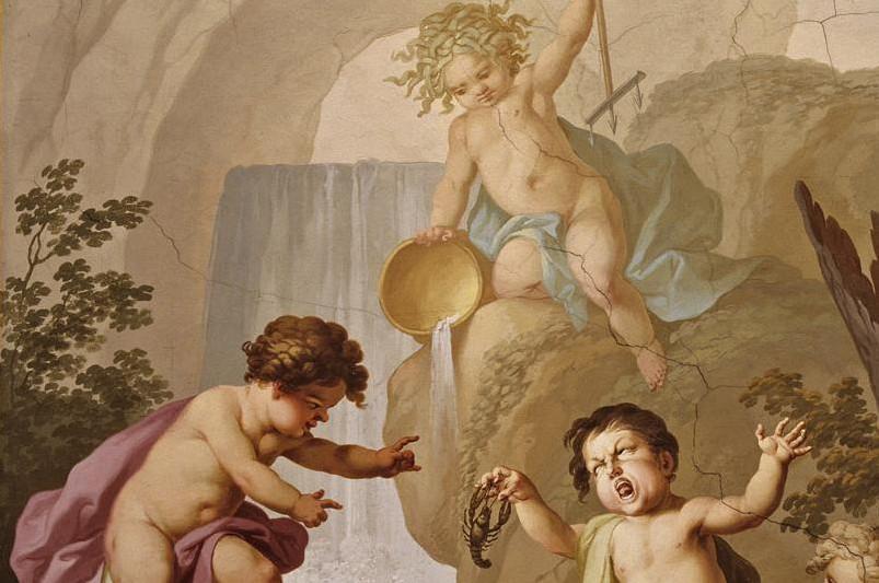 Deckenfresko mit der Allegorie des Wassers von Johann Joseph Anton Huber im Amarium von Kloster Ochsenhausen, 1787