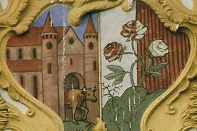 Wappen aus Ost-Frontispiz; Foto: Stadtverwaltung Ochsenhausen