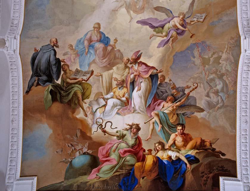 Deckenfresko in der Klosterkirche Ochsenhausen; Foto: Staatliche Schlösser und Gärten Baden-Württemberg, Steffen Hauswirth