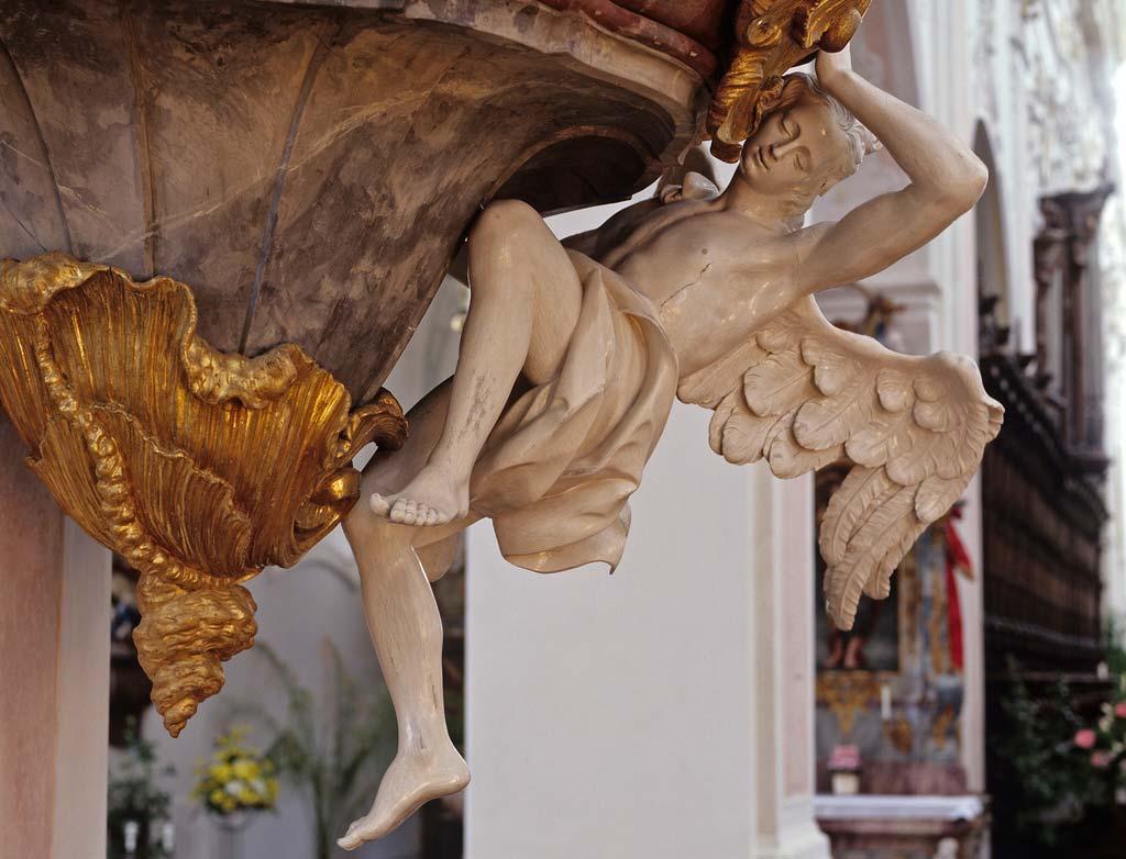 Detail aus der Kanzel in der Klosterkirche; Foto: Staatliche Schlösser und Gärten Baden-Württemberg, Steffen Hauswirth