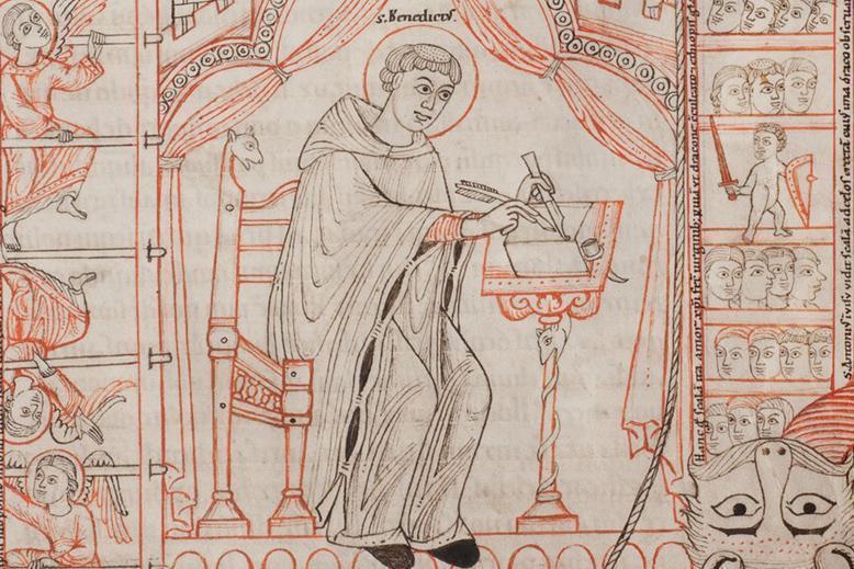 Der heilige Benedikt; Foto: Württembergische Landesbibliothek Stuttgart