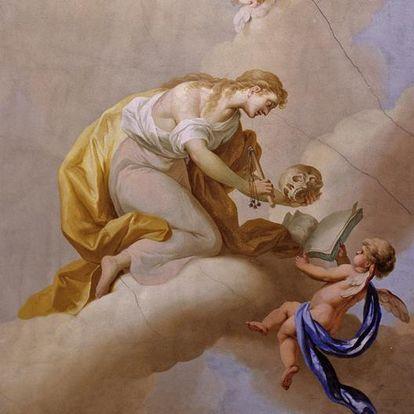 Deckenfresko mit der Personifikation der Abtötung der Triebe im Kapitelsaal von Kloster Ochsenhausen, Johann Joseph Anton Huber, 1785