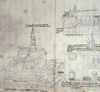 Handzeichnung von Kloster Ochsenhausen aus dem 15. Jahrhundert; Foto: Staatliche Schlösser und Gärten Baden-Württemberg, Steffen Hauswirth