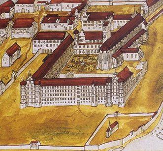 Federzeichnung von Kloster Ochsenhausen von Gabriel Bucelin aus dem Jahr 1630