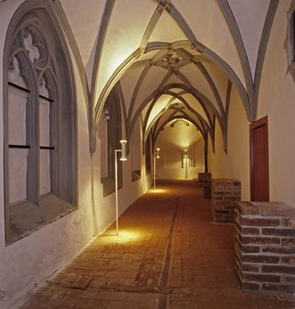 Einstiger gotischer Kreuzgang im Untergeschoss der Prälatur von Kloster Ochsenhausen