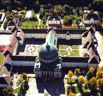 Kloster St. Blasien von oben; Foto: Staatliche Schlösser und Gärten Baden-Württemberg, Steffen Hauswirth