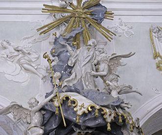 Dach der Kanzel in der Klosterkirche von Kloster Ochsenhausen; Foto: Staatliche Schlösser und Gärten Baden-Württemberg, Steffen Hauswirth