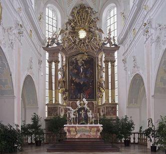 Hochaltar von Johann Joseph Obrist mit dem Altarblatt von Johann Heinrich Schönfeld in der Klosterkirche Ochsenhausen