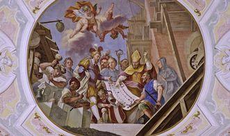 Deckenfresko im Mittelschiff der Klosterkirche von Kloster Ochsenhausen