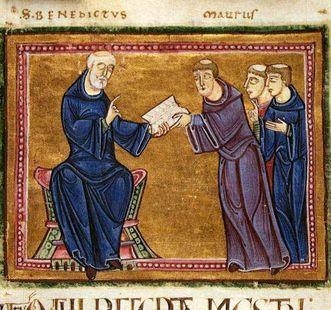 Benedikt von Nursia übergibt seine Regel; Foto: Wikipedia, gemeinfrei