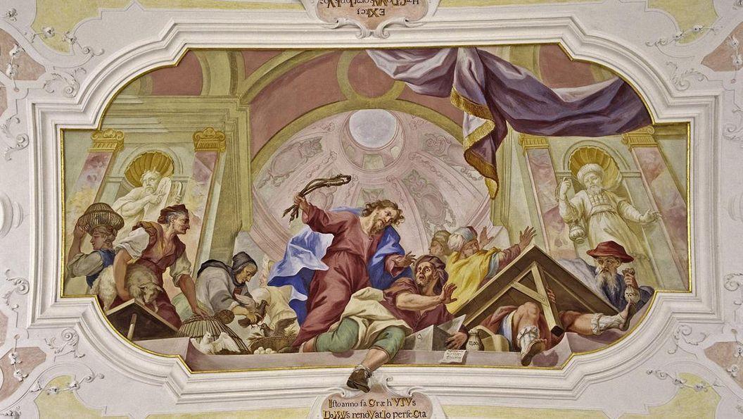 Deckenfresko in der Vorhalle der Klosterkirche von Kloster Ochsenhausen; Foto: Staatliche Schlösser und Gärten Baden-Württemberg, Steffen Hauswirth