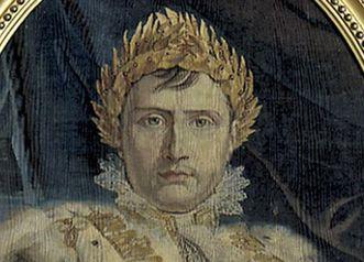 Bildnis von Napoleon Bonaparte auf einem Gobelin aus dem Jahr 1804