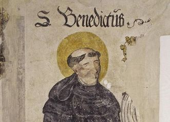 Bildnis des hl. Benedikt auf einer Wandmalerei in der Prälatur von Kloster Ochsenhausen