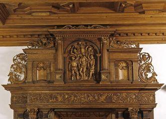 Bekrönung am Renaissance-Portal in der Audienzhalle der Prälatur im Kloster Ochsenhausen; Foto: Staatliche Schlösser und Gärten Baden-Württemberg, Joachim Feist