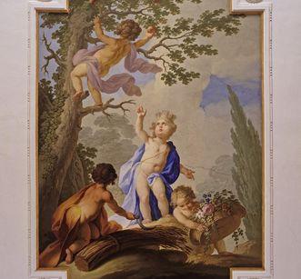Deckenfresko mit der Allegorie der Erde im Armarium von Kloster Ochsenhausen, Johann Joseph Anton Huber, 1787
