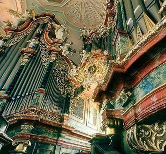 Detail der Gabler-Orgel in der Klosterkirche von Kloster Ochsenhausen