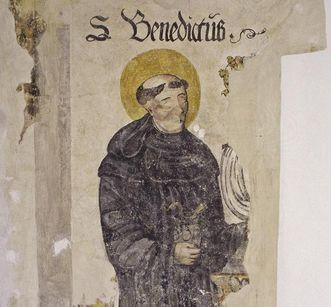 Spätgotische Wandmalerei des hl. Benedikt in der Prälatur von Kloster Ochsenhausen