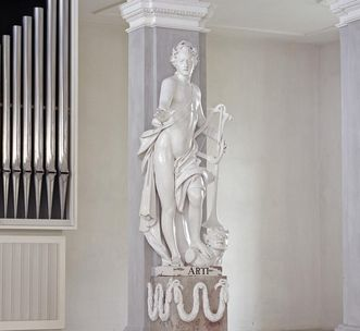 Standfigur Apollo im Bibliothekssaal von Kloster Ochsenhausen, 1787