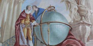 Der Erdglobus, Ausschnitt aus einem Gemälde in der Galerie des Bibliothekssaals von Kloster Schussenried